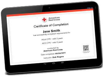 American Red Cross Digital Certificate https://www.attentivesafety.com/adult-and-pediatric-first-aid-cpr-aed.html